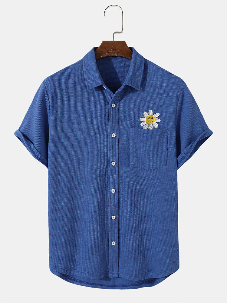 Mens Knit Embroidered Smile Face Button Up Short Sleeve Shirts