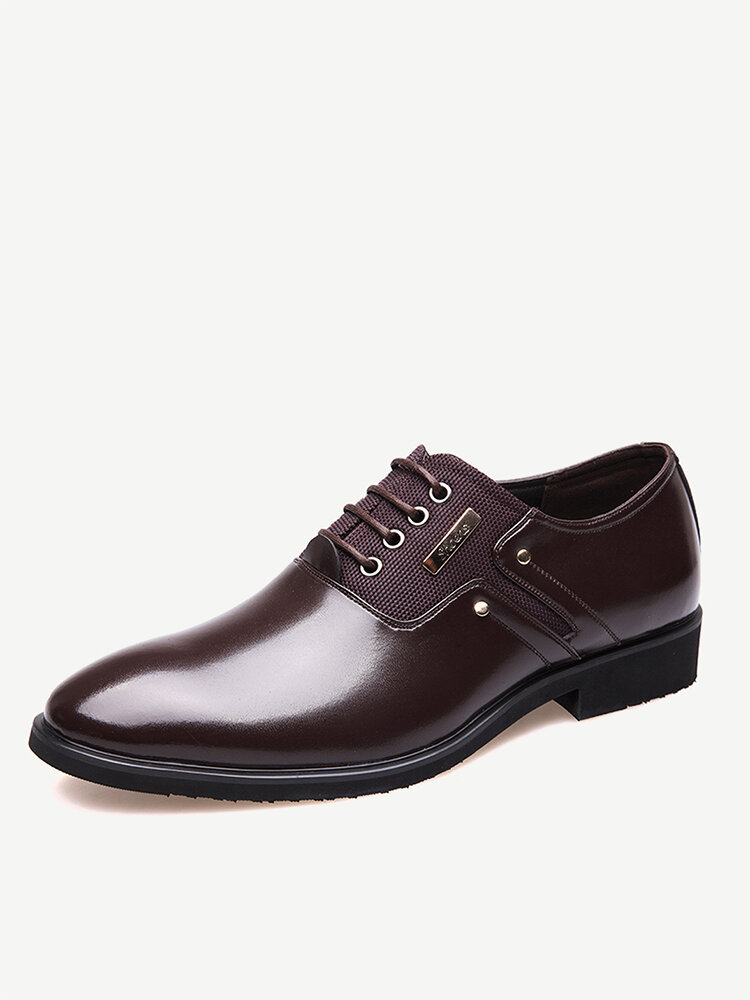 Men Stylish Leather Splicing Lace Up Business Formal Dress Shoes