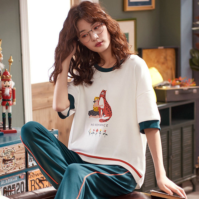 New Short-sleeved Trousers Pajamas Women's Season Cotton Suit Cartoon Cute Thin Section Home Service