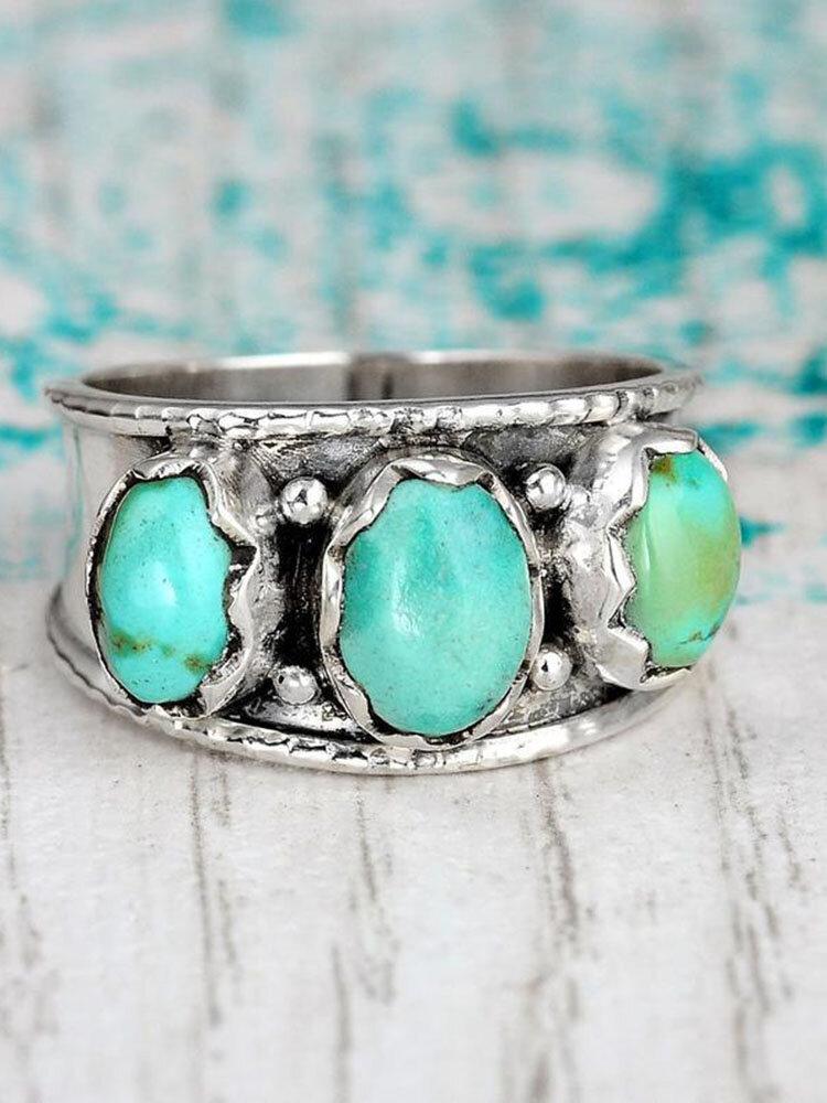 Vintage Bohemia Inlaid Gem Turquoise Opening Adjustable Ring Jewelry Gift