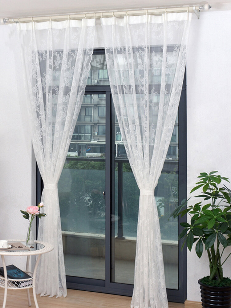 Beautiful Lace Curtains Sheer Embroidered Tulle Rustic Flower Voile For Living Room Girls Room