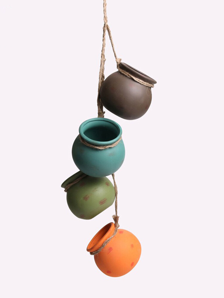 Ceramic Hanging Pots with Holes and Hemp Rope Small Cactus Plant Pots 10 x 10 x 9 cm