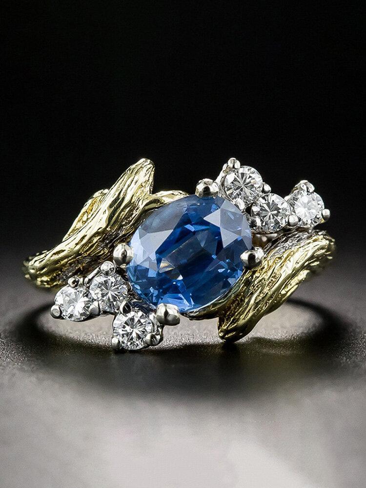 Vintage Two-Tone Sapphire Ring Imitation Branch Tree Vine Inlaid Diamond Ring