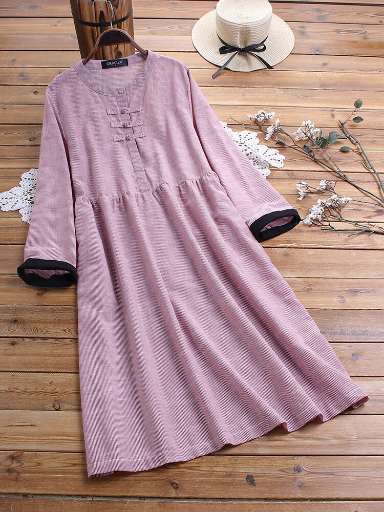 Casual Striped Frog Button Pleated O-neck Long Sleeve Midi Dress