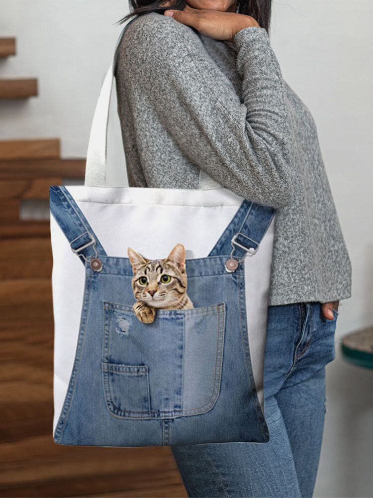 Women Canvas Cat Dog Handbag Shoulder Bag Tote