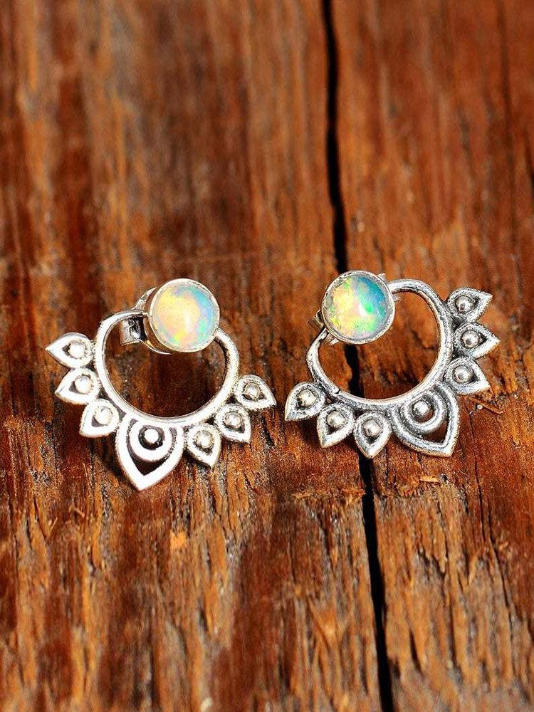 Vintage Synthetic Opal Flowers Earrings Front-Rear Combination Dual-Use Earrings