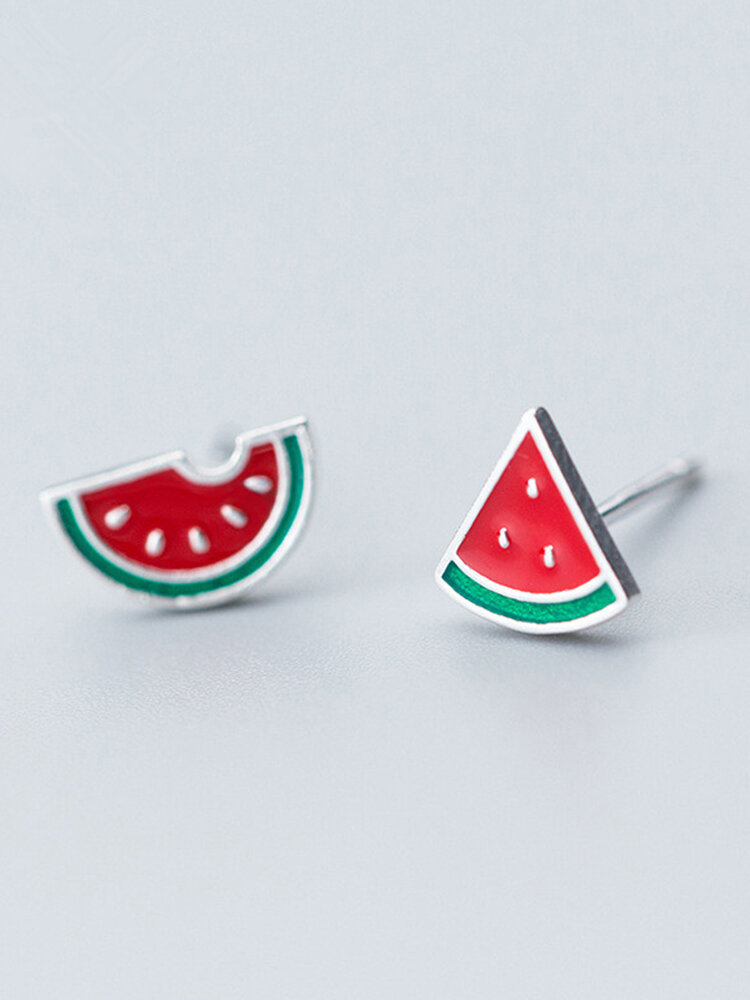 925 Sterling Silver Womens Stud Earrings Cute Watermelon Fruit Asymmetric Piercing Earrings