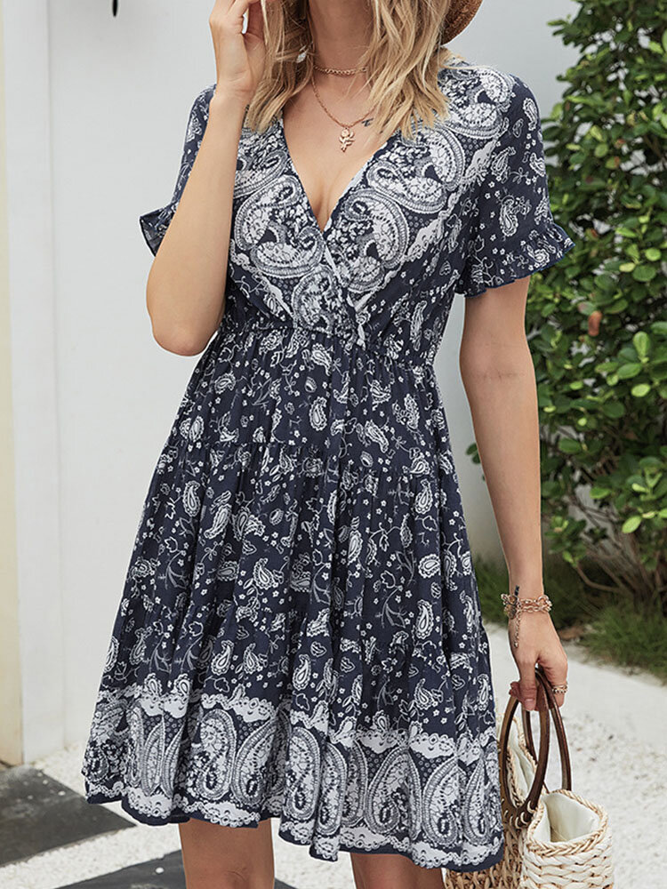Summer Holiday Calico Print Robe Bohème Femme Manches Courtes