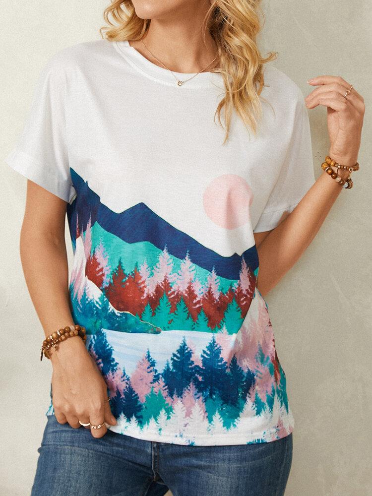 Short Sleeve Landscape Print O-neck Casual T-Shirt For Women