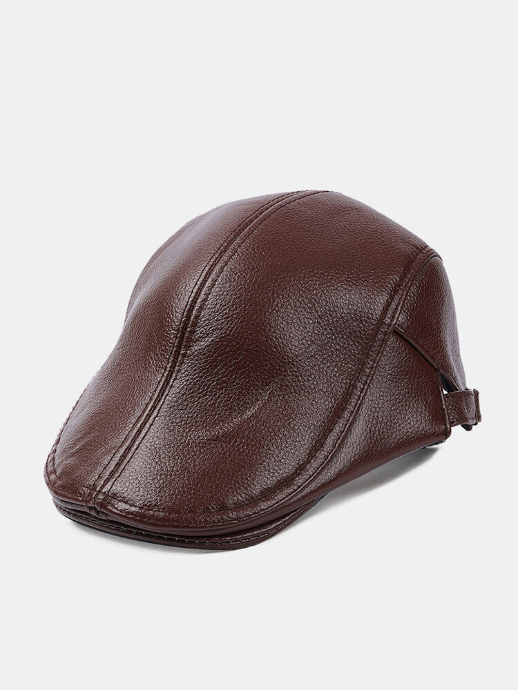 Men Genuine Leather Solid Color Casual Flat Cap Universal Outdoor Forward Hat Beret Hat