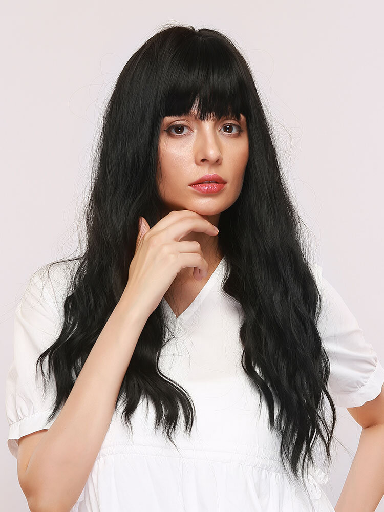 28 Inches Bangs Natural Black Long Curly Hair Gentle Temperament Micro-volume Synthetic Wig