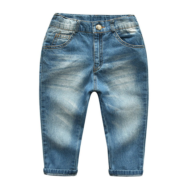 Toddlers Girls Boys Casual Button Denim Jeans Long Pants Trousers For 2-9Y