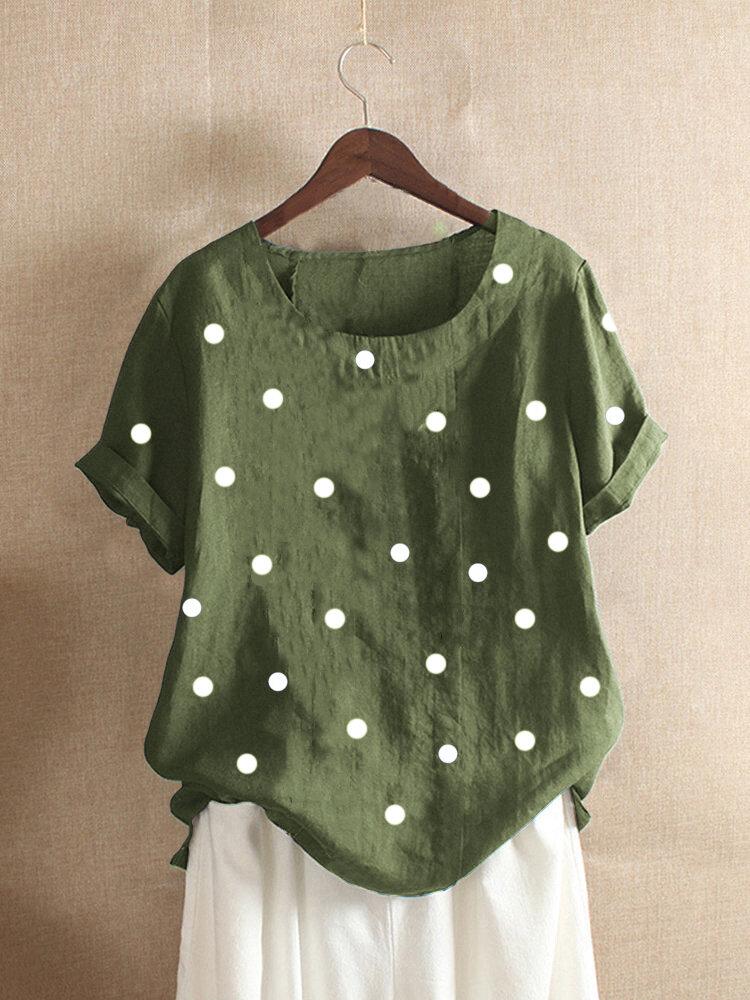 Polka Dots Print Short Sleeve Casual Summer T-Shirt