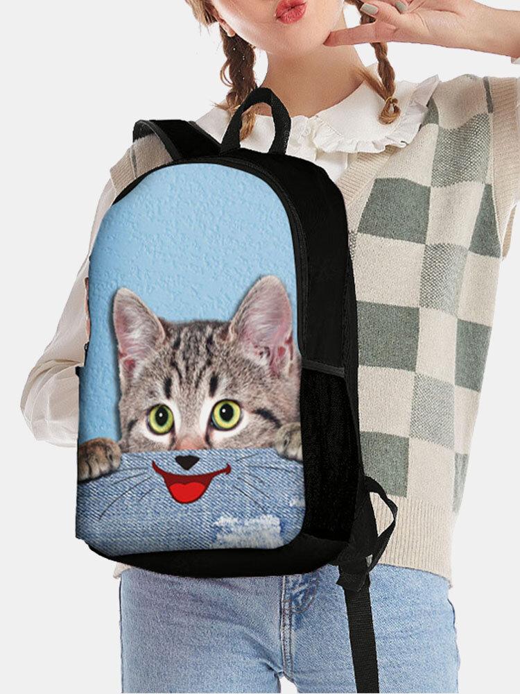 महिला बिल्ली कुत्ता अजीब अभिव्यक्ति पशु प्रिंट बैग