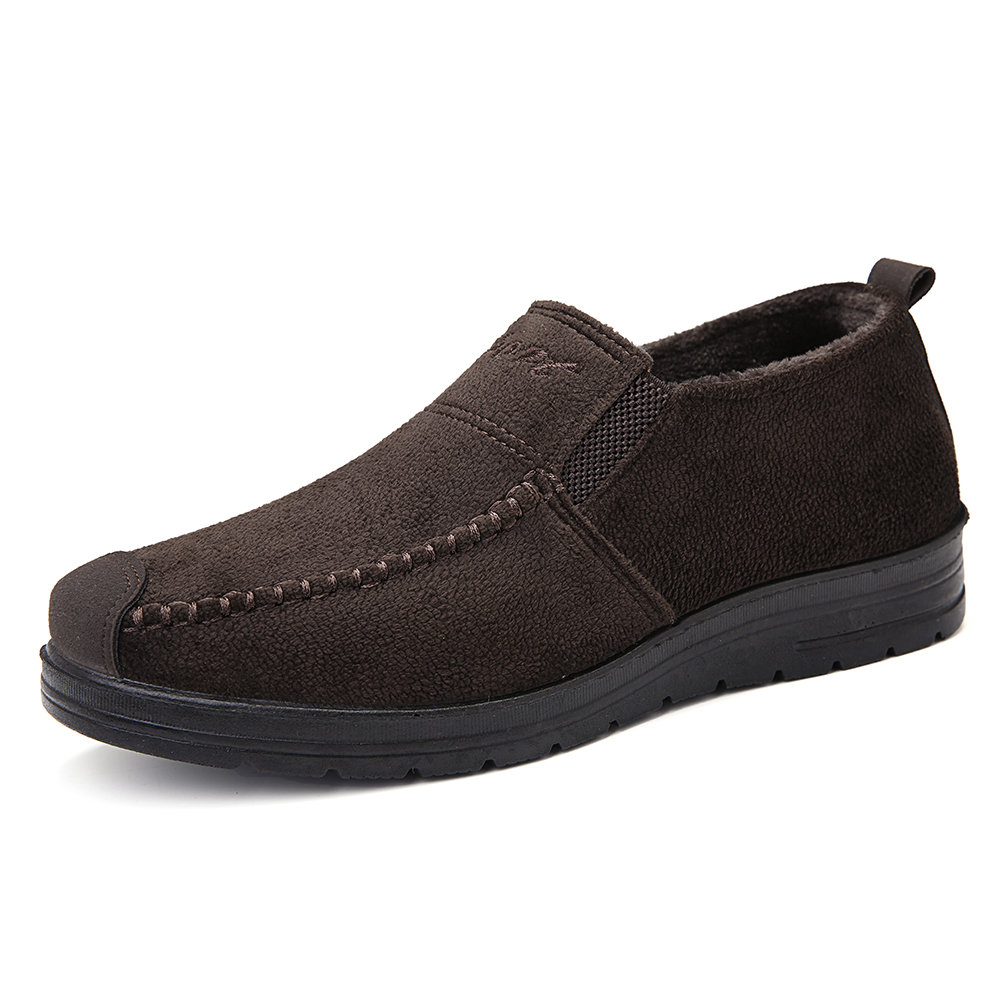 Men Hand Stitching Fabric Slip On Warm Lining Casual Boots