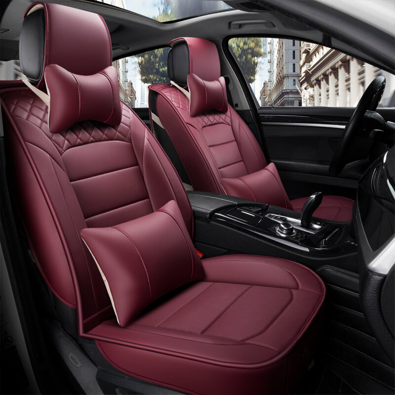 Luxury PU Leather Breathable Car Front 2 Seat Covers /& 3in1 Rear Row Cushion Set