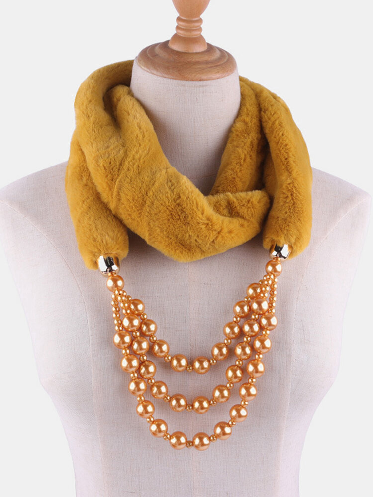 Bohemian Plush Imitation Pearl Necklace Autumn Winter Beaded Pendant Scarf Necklace