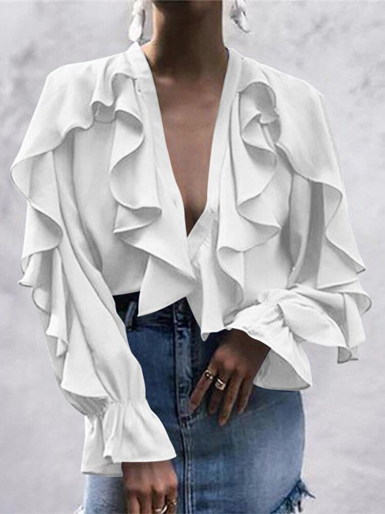 Casual Ruffled V-neck Long Sleeve Plus Size Blouse