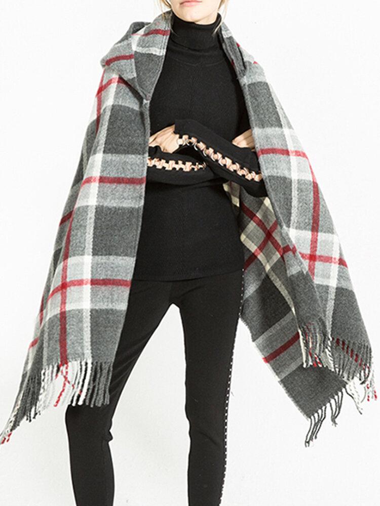 وشاح نسائي شتوي دافئ من الكشمير الترتان مصمم جديد بقلنسوة منقوشة وشاح شالات وأوشحة وأغطية