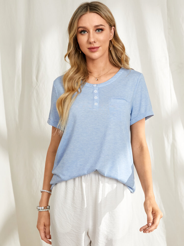 Solid Color O-neck Short Sleeve Buttons Pocket Casual Blouse for Women