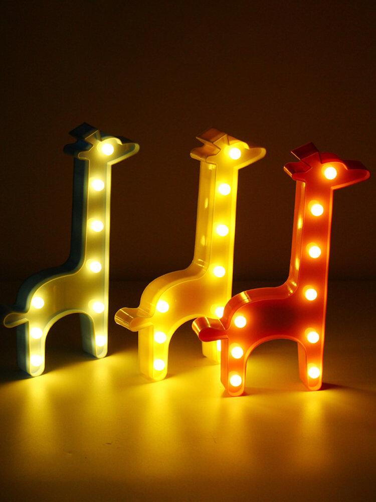 Cute Giraffe LED Night Light Wall Battery Lamp Baby Kids Bedroom Home Decor