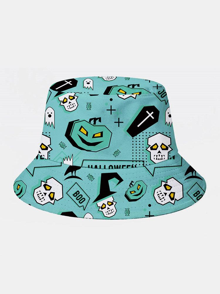 Unisex Cotton Overlay Cartoon Abstract Skull Ghost Crow Print All-match Bucket Hat