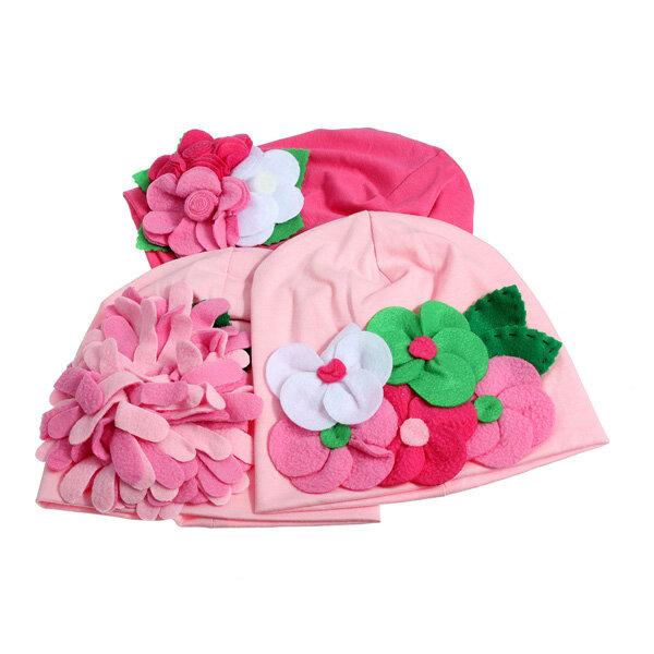 Baby Girl Cute Handmade Flower Hat Soft Cotton Knit Crochet Beanie Cap Headband