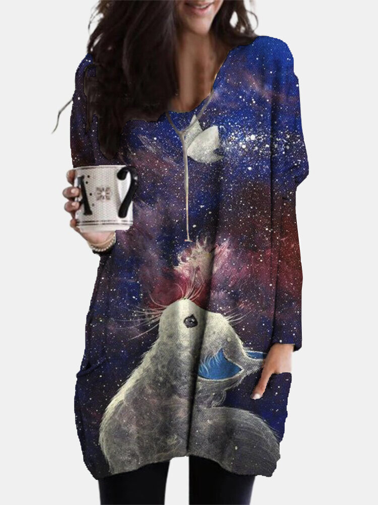 Galaxy Cat Print V-neck Long Sleeve Plus Size Blouse With Pockets