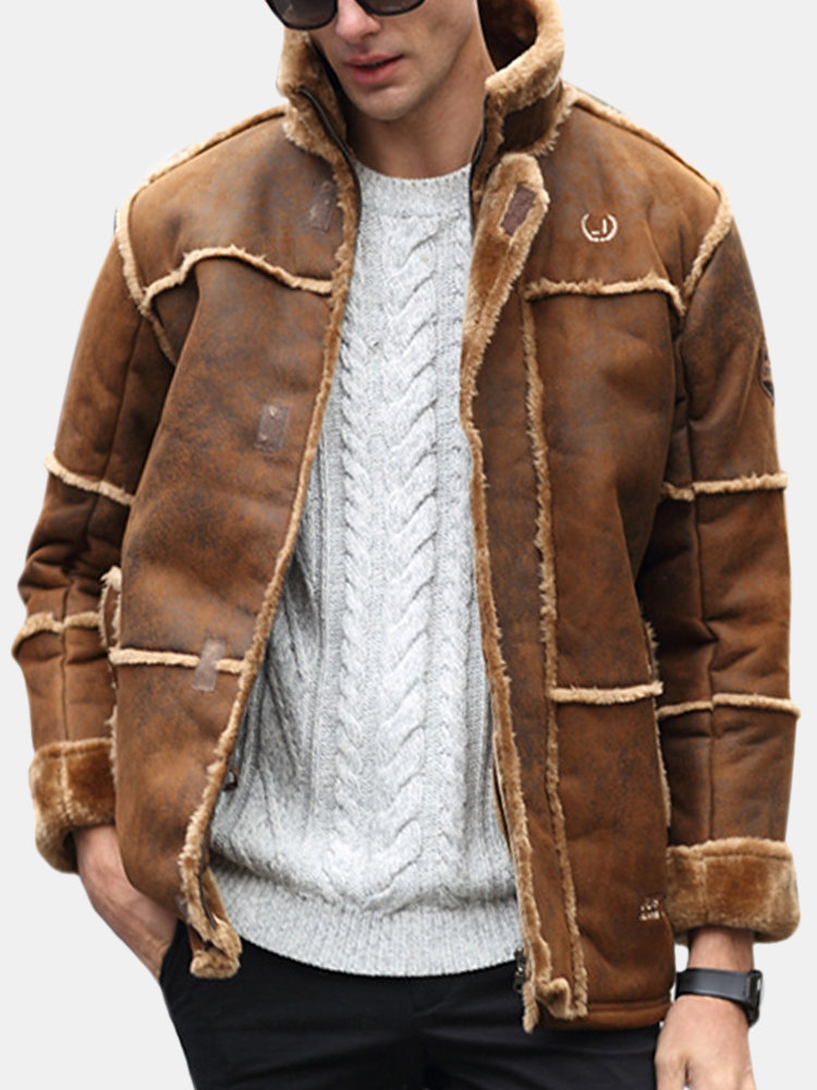 6cff093a5 Casual Vintage Thicken Fleece Boomber Sherpa Chamois Leather Shearling  Jacket for Men