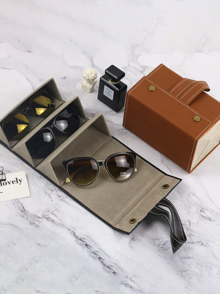2/3/4/5/6 Grids Father's Day Gift Multifunctional Foldable Sunglasses Storage Case PU Leather Durable Door Hanging Glasses Case