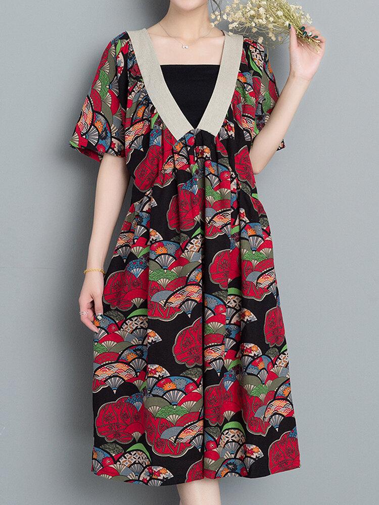 Print Short Sleeve V Neck Loose Hem Women Dresses