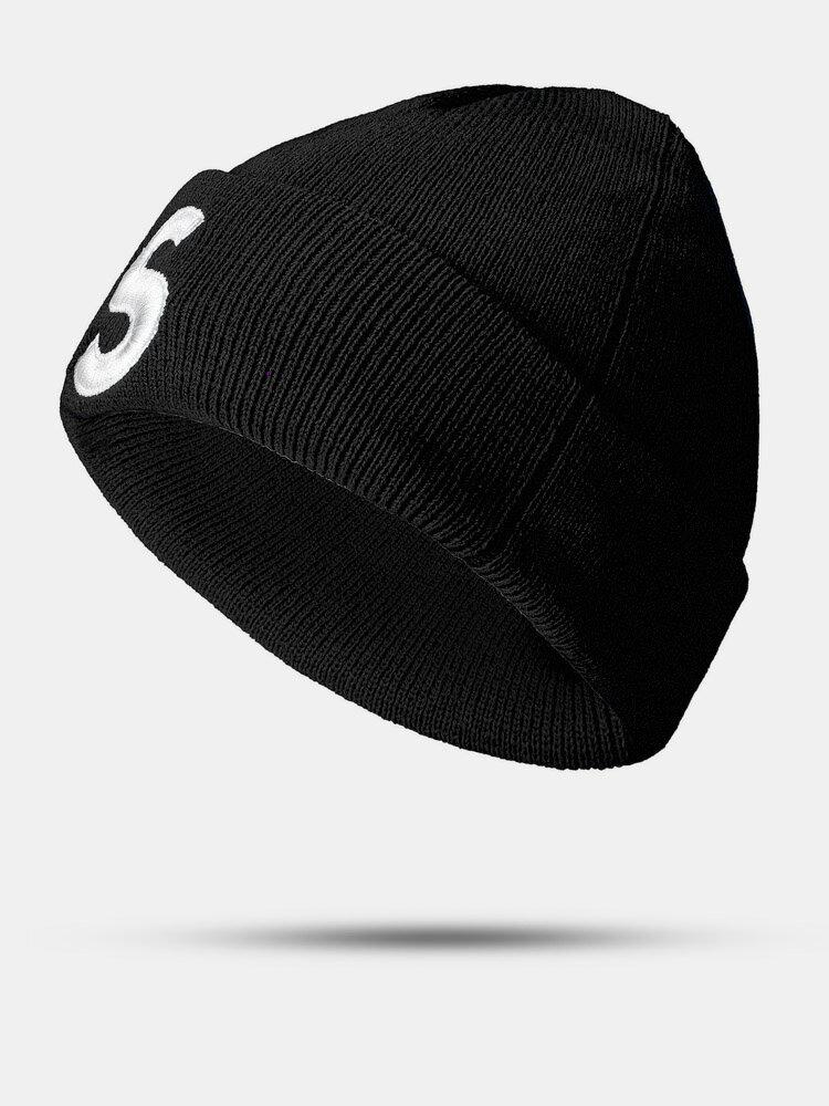 ユニセックスニットウールSレターパターン刺繡ビーニーハットニット帽