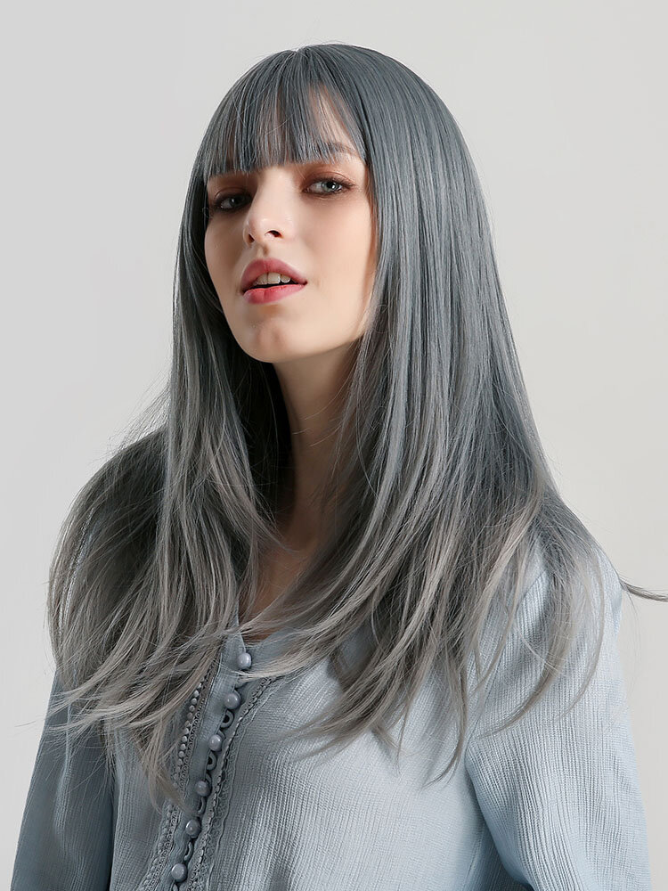 22 inch Cyan Grey Color Long Straight Hair Synthetic Wig Neat Bangs Fluffy Natural Wigs