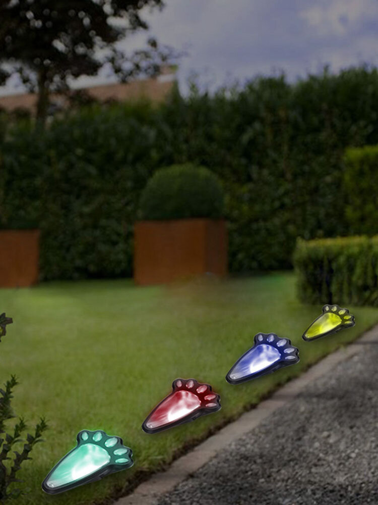 4 In1 Solar Powered LED Dog Paw Print Lights Garden Outdoor Lawn Yard Path Lamp