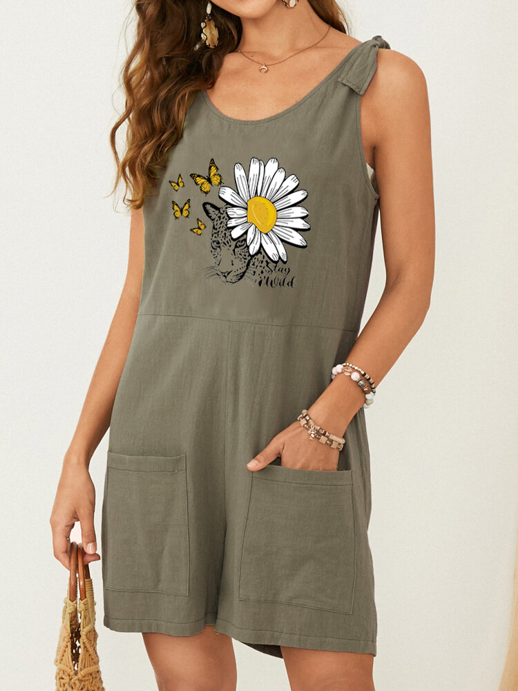 Butterfly Daisy Leopard Print Knotted Strap Casual Romper with Pocket