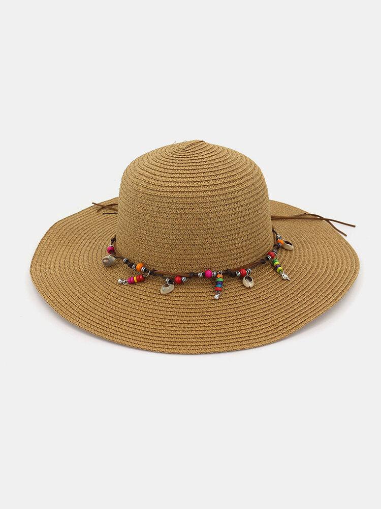 Fashion Wild Women Summer Sunscreen Straw Hats Beach Hat Shade Straw Hat Seaside Holiday Big Along Hat