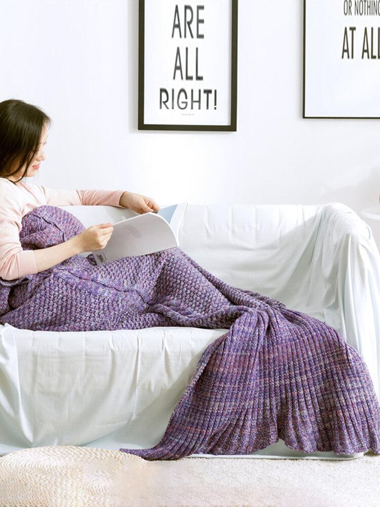 80x190CM वयस्क यार्न बुना हुआ मरमेड पूंछ कंबल हस्तनिर्मित Crochet सुपर Soft सोफा बिस्तर चटाई