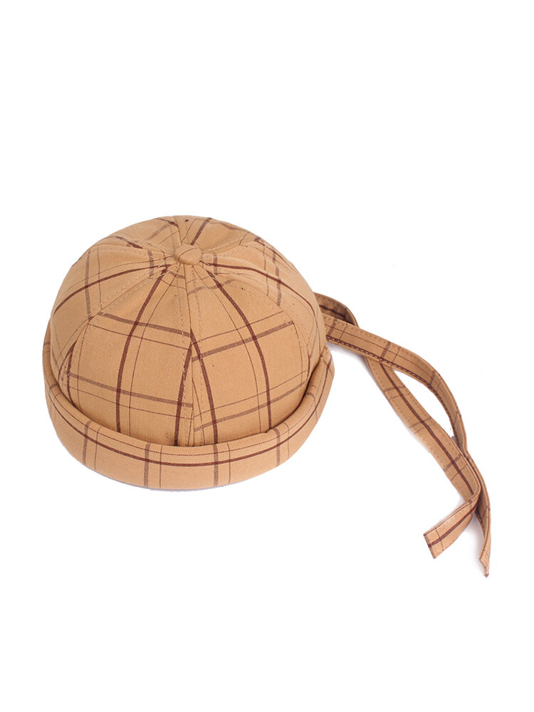 Men & Women Adjustable Lattice Cotton French Bucket Cap Retro Crimping Brimless Hat Braid Hat