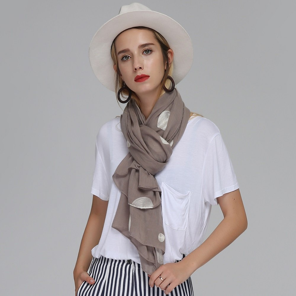 Women Vintage Soft Cotton Embroidery Dots Long Scarf Shawl Casual Comfortable Warm Scarves