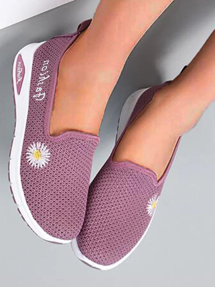 Women Daisy Decor Mesh Comfy Breathable Casual Slip On Sneakers