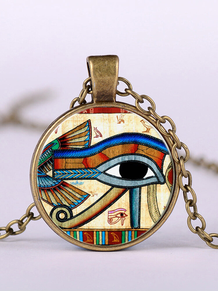 Eye Of Horus Gem Pendant Necklace Adjustable Metal Chain Round Glass Women Necklace Jewelry Gifts