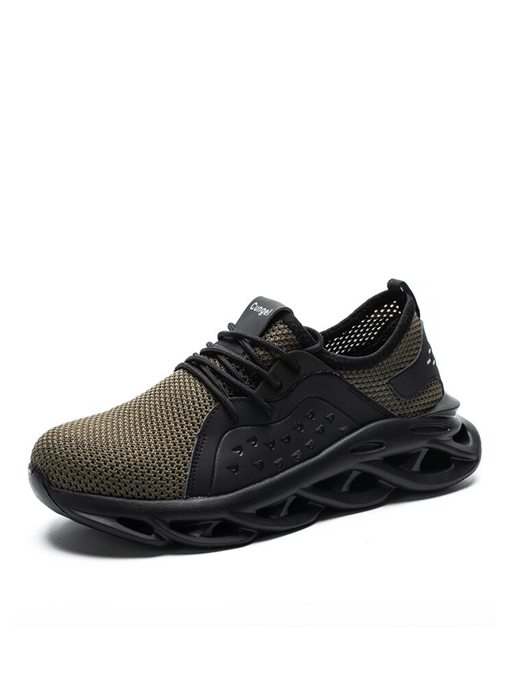 Men Steel Toe Cap Mesh Fabric Breathable Non Slip Sport Work Safety Shoes