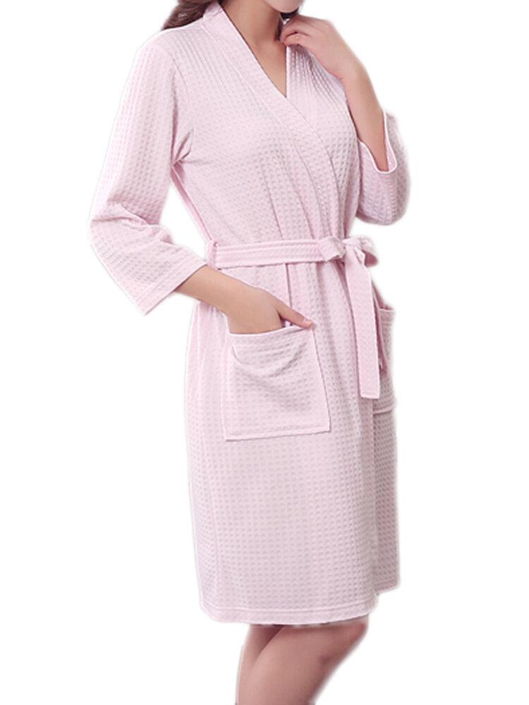 Solid Cotton Warm Bathrobe Dressing Gown Unisex Men Women Couple Waffle Sleep Lounge