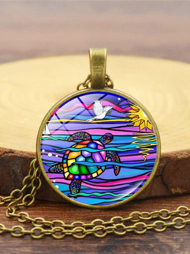 Vintage Alloy Glass Printing Women Necklace Colored Turtle Pendant Necklace