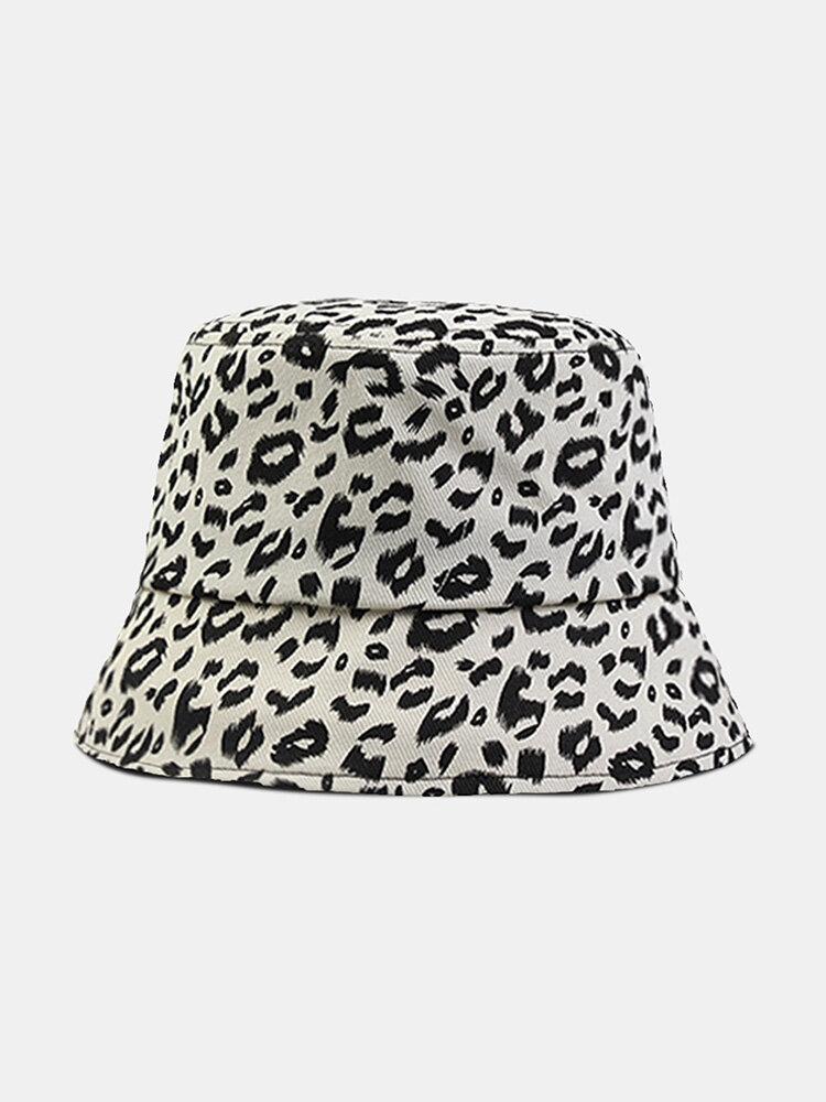 Women Cotton Leopard Pattern Print Fashion All-match Sunscreen Bucket Hat