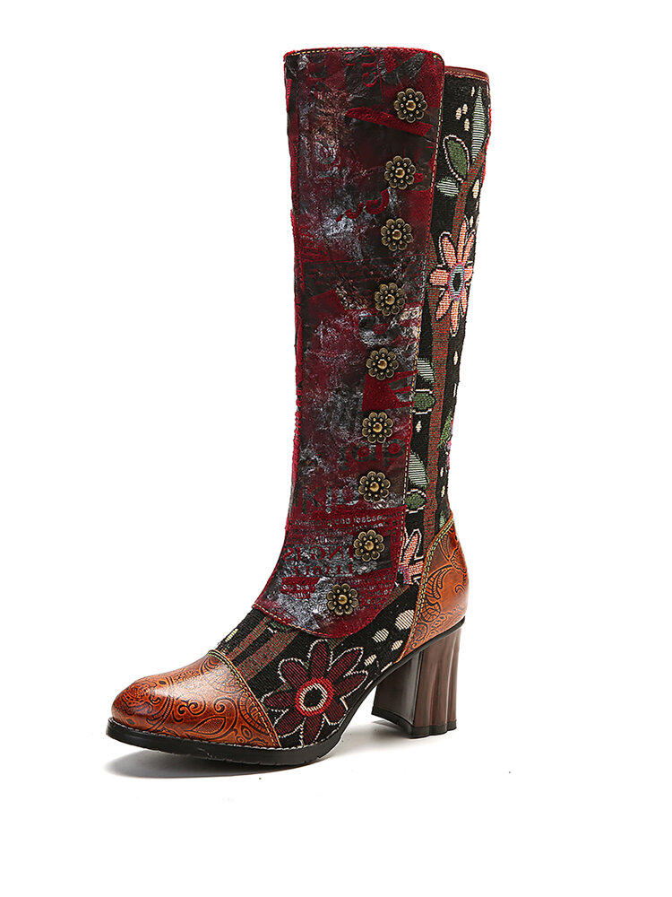 SOCOFY Vintage Sunflower Genuine Leather Splicing Mid Calf High Heel Boots