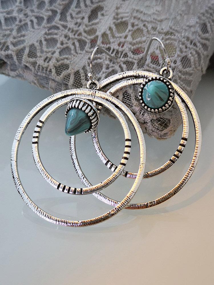 Vintage Double Circle Women Earrings Bullet Head Turquoise Pendant Earrings