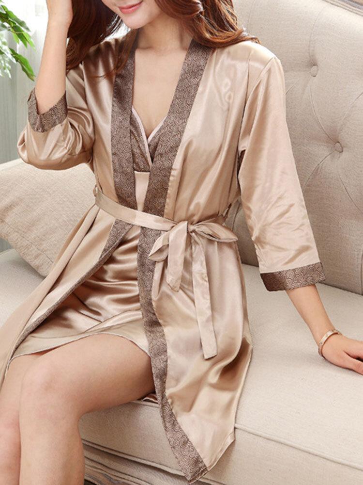 Silk Summer Soft Bathrobe for Women & Men Super Absorption Quick Drying Lovers Sleepwear
