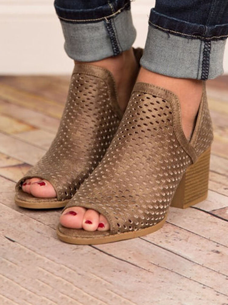 Large Size Women Peep Toe Hollow Out Breathable Back Zipper Chunky Heel Sandals