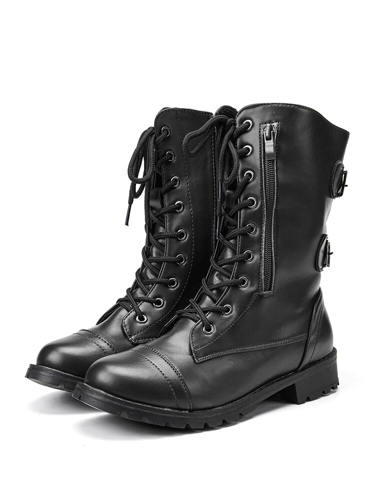 Women Large Size Round Toe Lace Up Casual Wearable Mid-Calf Boots